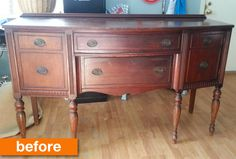 Before & After: A Vintage Sideboard Goes Matte & Midnight   Apartment Therapy