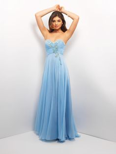 This Blush Prom long chiffon dress, 9549, is a pretty dress for any occasion! Wear it to prom, homecoming, cocktail or party. Delicate chiffon with a strapless, sweetheart neckline and a natural waist