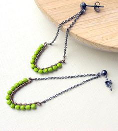 Been wanting these for a long time...    Green earrings  Sterling silver  Oxidized by lunahoo on Etsy, $26.00
