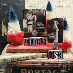 Tim Holtz: 4th of July Woodland trees/Letterpress stands