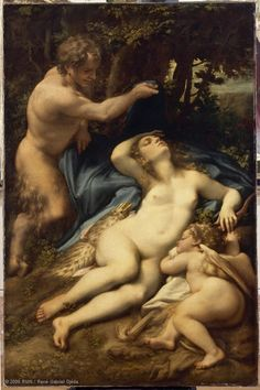 Antonio ALLEGRI, known as CORREGGIO (Correggio (near Parma), 1489? - Correggio, 1534)  Venus and Cupid with a Satyr