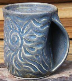 Right Hand,  Warmer Mug, Galaxy Blue, Carved, Pottery, Wheel Thrown, Handmade LOVE this handle idea.