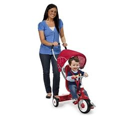 From 9 months to 5 years old, this 4-in-1 tricycle converts from a stroller to a steering trike, learning to ride trike and finally a classic trike that will bring years of riding enjoyment to your child. Made in USA.