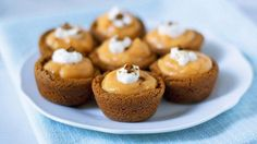 Mini pumpkin pudding pies made with a ginger cookie crust are easy to make and so cute. A perfect fall treat for dessert or parties.