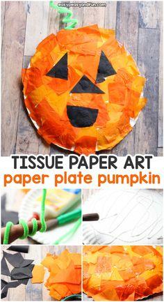 Mosaic Pumpkin Paper Plate Craft. Fun Halloween craft project for kids.