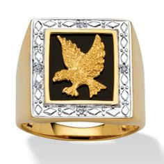 Men's Diamond Accented Genuine Onyx Eagle Ring in 18k Yellow Gold over Sterling Silver at PalmBeach