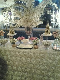 Chambers and Company had an amazing display at Urban Unveiled last night! Love the Antique Ivory Rosette overlay for the desert table.