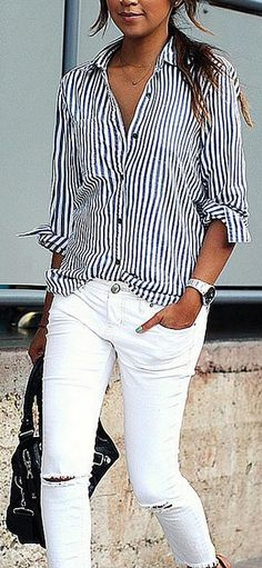 Take a look at 14 stylish spring outfits with white jeans in the photos below and get ideas for your own amazing outfits! White jeans, chambray shirt and brown accessories Amazing Outfits Image source Trendy Summer Outfits, Spring Outfits, Casual Outfits, Denim Outfits, Outfit Summer, Summer Clothes, Casual Wear, Dress Outfits, Winter Outfits