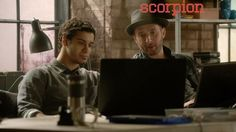 SCORPION - Walter w/ Eddie Kaye Thomas who plays Toby Curtis. Toby has a Doctorate in Psych. & he can Profile People plus he has a high IQ. Nothing like Walter's!!