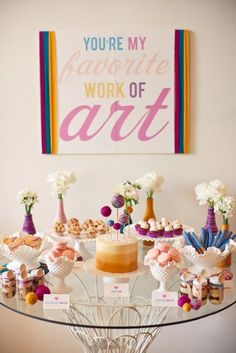 Colorful dessert table for yarn themed baby shower | Sweet and Saucy Shop