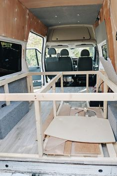 How to build a bed frame and cabinets in your camper van – vanlifer lif life diy how to build life diy ideas life diy interiors life diy projects Ford Transit Custom Camper, Ford Transit Camper Conversion, Custom Camper Vans, Van Conversion Interior, Custom Campers, Camper Van Conversion Diy, Van Conversion Bed Frame, Van Conversion Cabinets, Van Interior