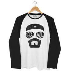 Camiseta Manga Longa Raglan Masculina Raul Seixas Toca Raul 4 #raulseixas #tocaraul #malucobeleza #sociedadealternativa