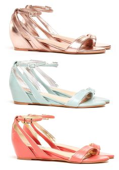 Rose Gold, Mint, and Coral Sandals. LOVE these!