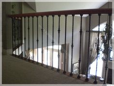 Rod Iron Stairs Railing Banisters 40 New Ideas Wrought Iron Stair Spindles, Rod Iron Railing, Loft Railing, Modern Stair Railing, Banisters, Iron Balusters, Indoor Railing, Stair Handrail, Railing Ideas