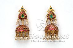 Indian Jewellery and Clothing: Antique temple designs of jhumkas made of dull gold and studded with rubies and emeralds South Indian Jewellery, Indian Jewellery Design, Jewelry Design, India Jewelry, Temple Jewellery, Antique Earrings, Antique Jewelry, Antique Gold, Bridal Jewelry