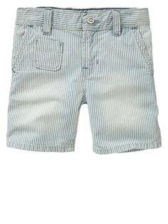 Railroad stripe denim shorts