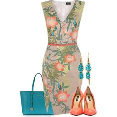 A fashion look from August 2014 featuring Dolce&Gabbana pumps, Michael Kors tote bags y Panacea earrings. Browse and shop related looks.