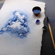 Watercolorist: niharikahukku #cloud #watercolours #painting #blue by watercolor.blog