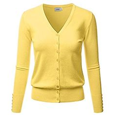 LALABEE Women s V-Neck Long Sleeve Button Down Sweater Cardigan Soft  Knit-Yellow- 0a3c9eafd