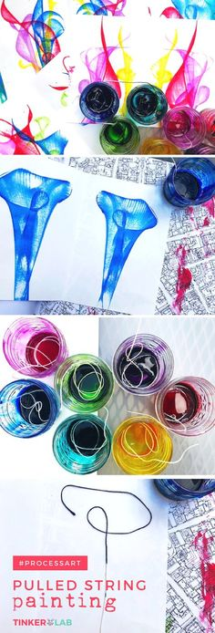 Make a pulled string art painting with paint, paper, liquid watercolors, and string. The process is captivating and the results are beautiful.