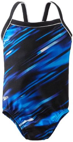 Speedo Big Girls  Youth Fractal Point Flyback Xtra Life Lycra Swimsuit Blue 1026 ** Be sure to check out this awesome product.