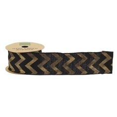 $12.99 Shamrock Naturals Black Ribbon With Metallic Gold Chevron Black & Gold