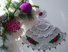 Crinoline Lady Crochet Doily with Glass Beads; completed doily found on ebay.