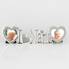 "Nana is the heart of the family. Show her how much she is loved with this adorable frame. The word ""love"" is represented by a heart that can be engraved. There is a 2x2 heart shaped frame on each side."