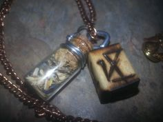 Archangel Michael sigil and bottle connection necklace - Lady Star's & Fire, Natural Blendings, Magical Charms & Understandings.AND, PERSONAL SELF HELPING