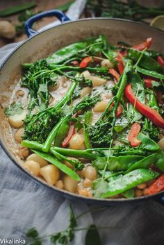 Green Vegetable, New Potato and Chick Pea Thai Curry - Vikalinka