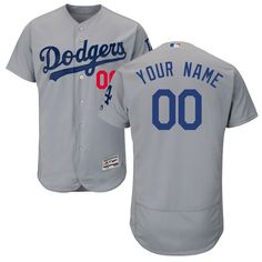 8e19c319ac8 Los Angeles Dodgers Majestic Alternate Road Flex Base Authentic Collection  Custom Jersey - Gray