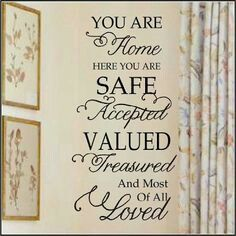 You Are Home Exclusive Wall Decal Perfect for military, missionaries, foster families. I designed this for my own family, to let my kids know that in this house they are safe. No need for the pressures of this world, here they can be themselves. Christian Wall Decals, Christian Art, You Are Home, Love Wall, Foster Care, Family Quotes, Family Rules Sign, Home Projects, Vinyl Projects