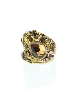 Womens Rings, Gold, Clear & Topaz Stones Rhinestone Frog Ring, Size 8