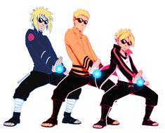 Minato, Naruto, and Boruto