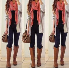 layered sweater and leggings/jeans. winter outfit, fall outfit, scarf and long sweater, Credit: Rinasenorita on Instagram! :) DIY YOUR OUTFITS by Jennifer March