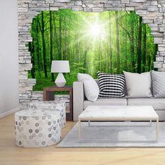 3D Fototapete Papiertapete Sunny Forest Mauer