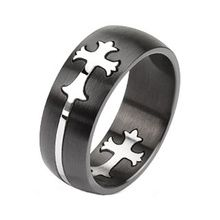 Stainless Steel Two Tone Cut Out Celtic Cross Band TW-0439