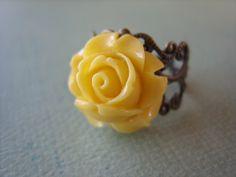 Yellow Rose Flower Ring