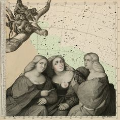 The Aestheticians 2011 collage & gouache on star chart, 16.50 x 16.50 inches by Julie Speed