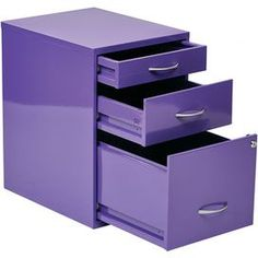 "Stow office and household papers in this delightful file cabinet, showcasing 3 drawers and a charming purple finish.  Product: File cabinetConstruction Material: Steel and metalColor: PurpleFeatures:  One pencil drawerOne storage drawerOne locking letter drawer Brushed metal handle Dimensions: 18.25"" H x 14.5"" W x 21.25"" D"
