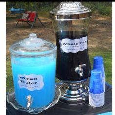 "Kids party food ideas... Blue Koolaid as ""ocean water"" and iced tea as ""whale pee""! kids loved it!!"