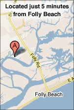 Bowens Island Restaurant...located at the tip of a 13-acre island, 5 minutes from Folly Beach, the restaurant is famous for its locally harvested oysters, fried shrimp, hushpuppies, Frogmore stew, cold beer, and its undisturbed view of river, marshes, islands, and wildlife.
