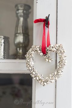 Homemade Christmas ornament. These jingle bells hearts are fun, easy and quick to make...