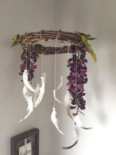 Purple, natural bohemian mobile.