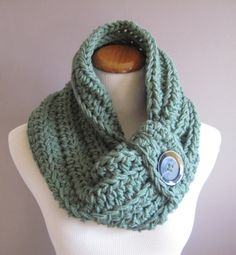 Cowl Chunky Bulky Button Crochet Cowl: Sage Green with Brown Button