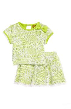 Nicole Miller Floral Crochet Top & Skirt Set (Baby Girls) available at #Nordstrom
