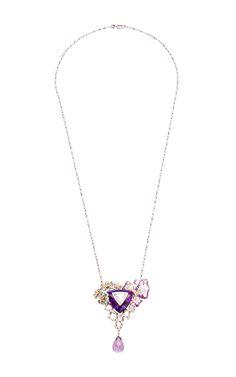 Amethyst Dream Triangle Diamond, And Yellow Diamond Pendant by Anna Hu Haute Joaillerie Spring-Summer 2015 (=)