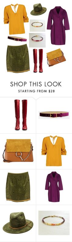 Yellow Purple Women Look Outfit Autumn 2017 on Polyvore, Boohoo, Ermanno Scervino, Prada, Joseph, Chloé and CHARLES & KEITH, Sapphire Ruby Bracelet by SecretStoneLab