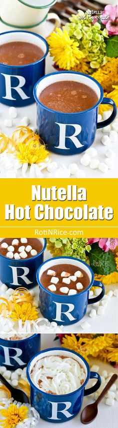 This rich, creamy Nutella Hot Chocolate with a hint of hazelnut is a treat for the winter months. Delicious topped with whipped cream or marshmallows. Nutella Hot Chocolate, Chocolate Spoons, Unsweetened Chocolate, Hot Chocolate Recipes, Chocolate Alcoholic Drinks, Hazelnut Spread, Nutella Recipes, Winter Drinks, Tasty Dishes