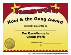 Team work award